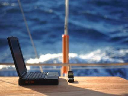 Laptop by the sea