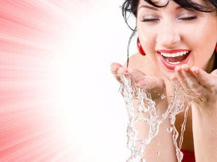 Woman freshening up
