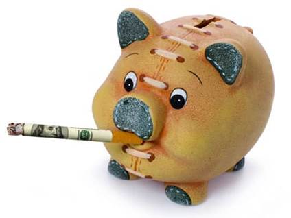 Piggy bank smoking