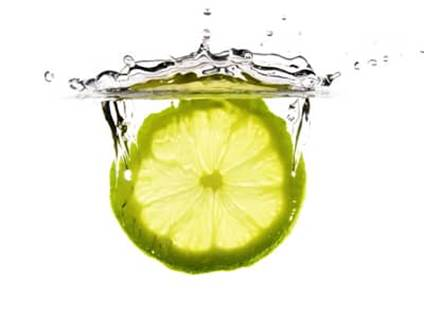 Lemon slice in water