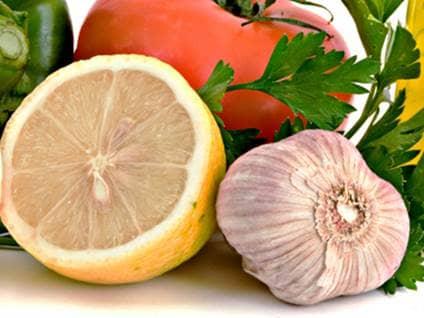 Lemon, garlic, and tomato