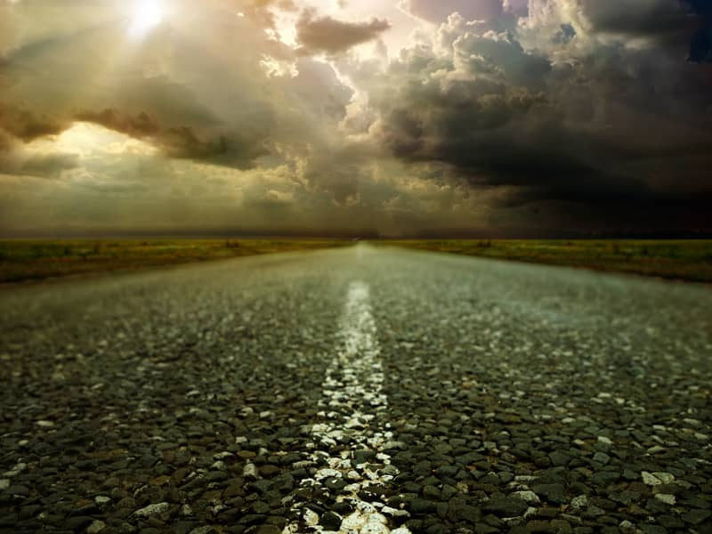 road, open, sun