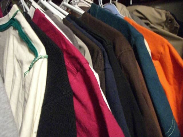 clothes, mothballs, hangers