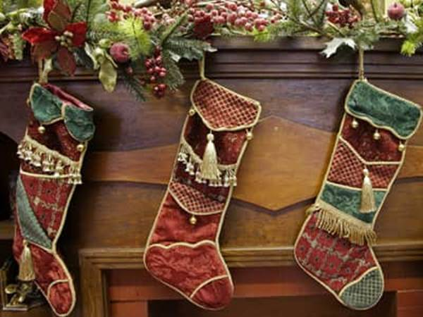 Stockings hung over a fireplace