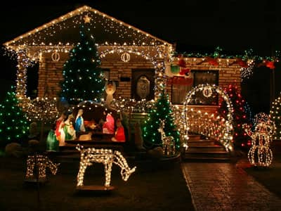 Christmas lights and decorations on a house