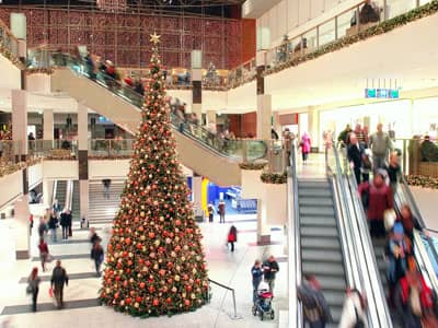 Christmas shopping in a mall