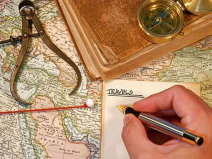 Writing in a travel journal