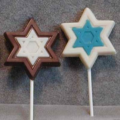 Star of David chocolate lollipops