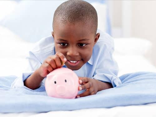 Celebrate Kwanzaa African-American boy piggy bank