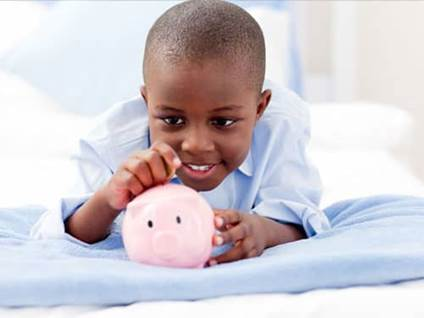 Celebrate Kwanzaa African-American boy piggy bank