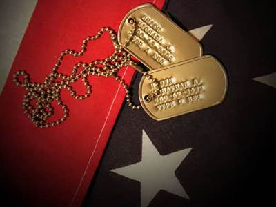 American Flag Soldier Dog Tags