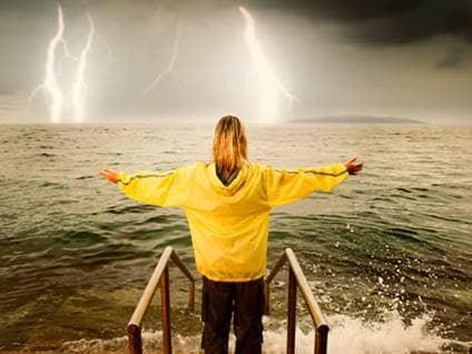 woman in lightening storm
