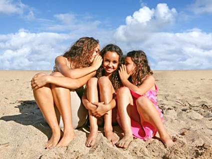Three girls on the beach