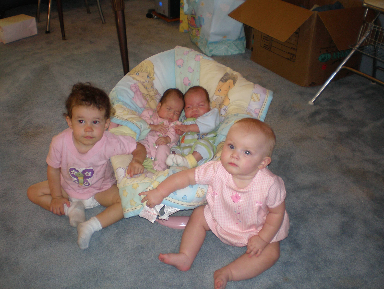 Cute babies in living room