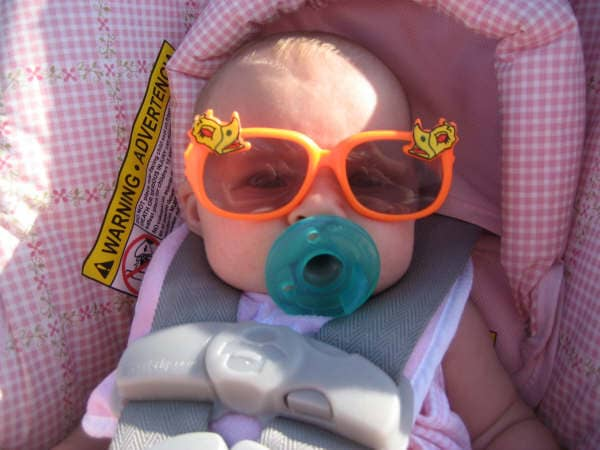 Cute baby wearing funky sunglasses