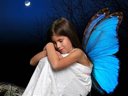 Blue butterfly girl fairy