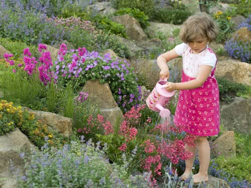 Little girl watering flowers