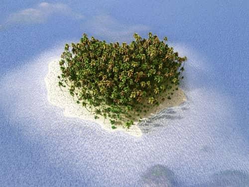 Heart-shaped island