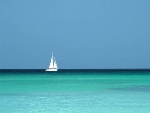 White sailing boat on the sea