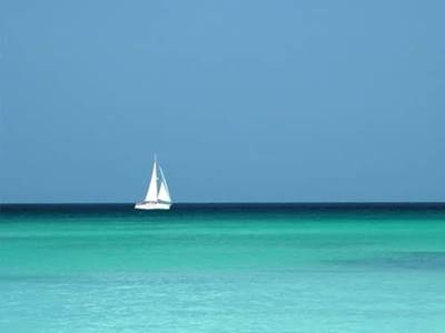 White sailing boat on the sea
