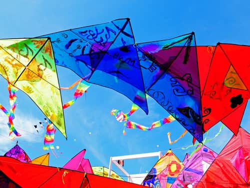Rainbow colored kites
