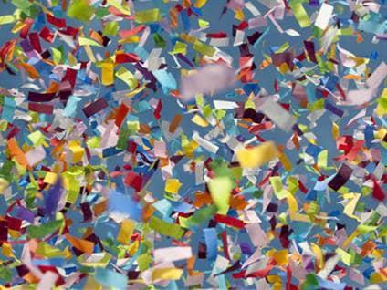 Pieces of rainbow confetti