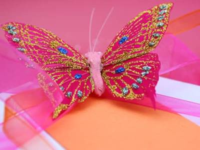 Pink butterfly on white box