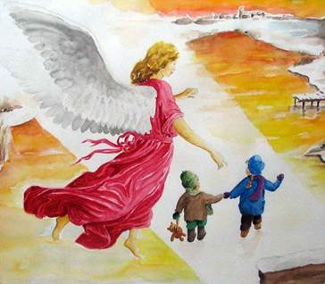 Your Original Angel Art Angel Guards Children by Sinia Baer