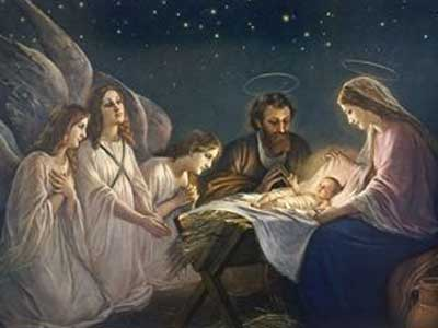 Joseph and Mary Admiring Their Son are Joined by a Trio of Angels Who are No Less Impressed