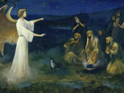 Angel Announcing the Birth of Christ to Shepherds by Robert Leinweber