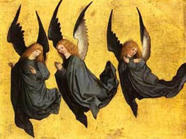 """""""Three Hovering Angels"""" by Meister des Hausbuches"""