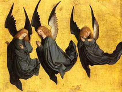"""Three Hovering Angels"" by Meister des Hausbuches"
