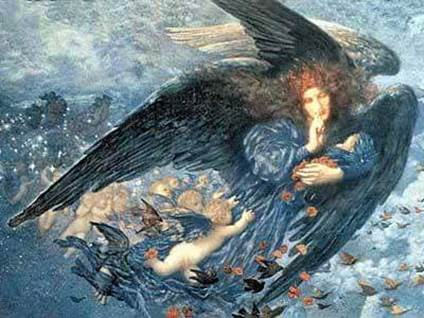 """Night with Her Train of Stars"" by Edward Robert Hughes"