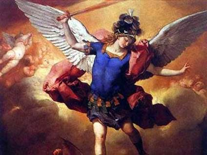 """Archangel Machael Overthrows the Rebel Angel"" by Luca Giordano"