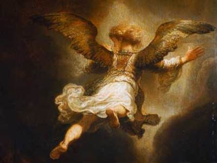 """Angel Ralphael Leaving Tobit and His Family"" by Rembrandt"