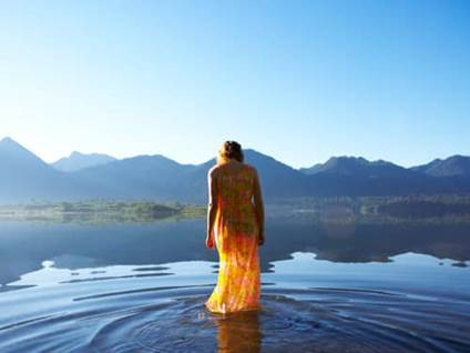 Woman Worshipping in Water