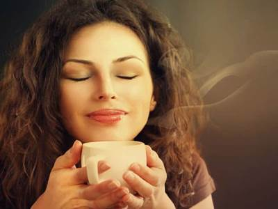 Big Stock Beauty Woman With Cup of Coffee