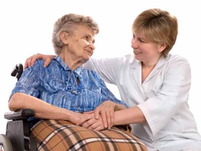 woman caring for elderly
