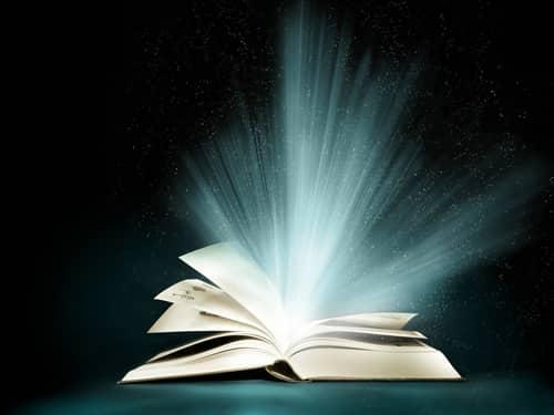 light bursting from an open book