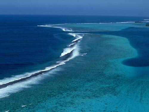 Aerial view of ocean and sandbars