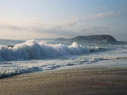 Ocean waves on beach