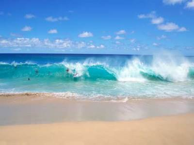 Blue ocean waves and beach