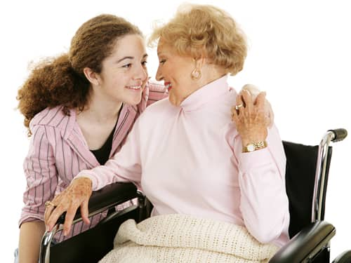 Teaching respect - teenage girl with her grandmother