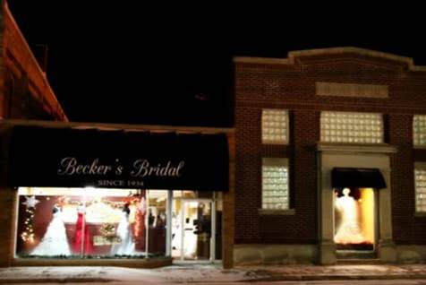 Becker's Bridal at night