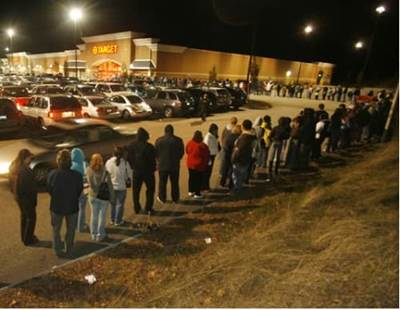 Shoppers in line outside