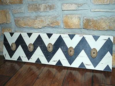 Black and White Chevron Knob Rack