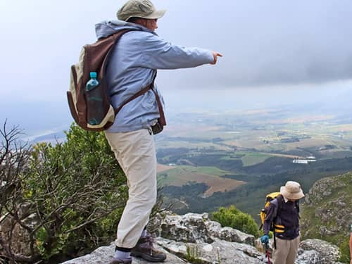 Older hikers admire the view