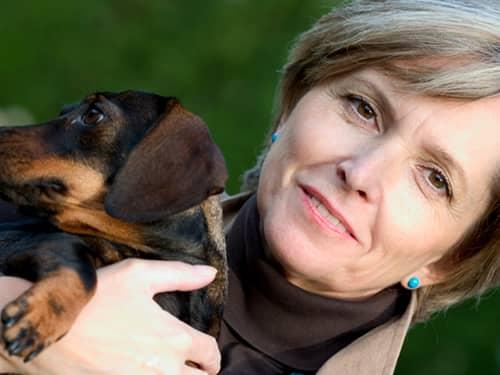 Lady holding her dog