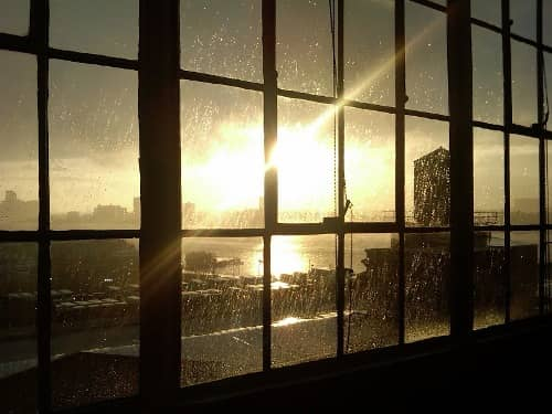 window with sun