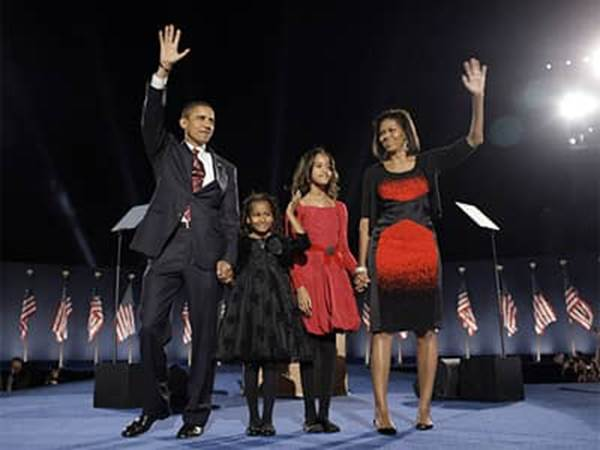 Barack Obama and Family on Election Night
